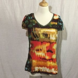 Simply Vera Vera Wang Tye Dye V-Neck Blouse